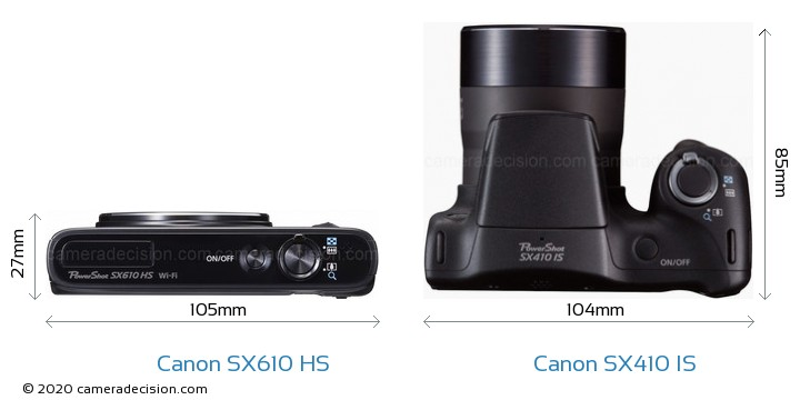 Canon SX610 HS vs Canon SX410 IS Camera Size Comparison - Top View