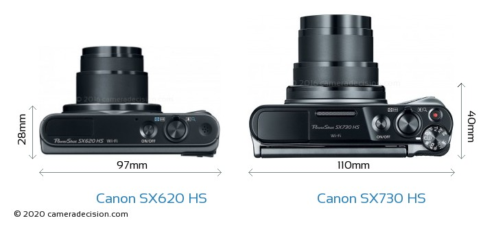 Canon SX620 HS vs Canon SX730 HS Camera Size Comparison - Top View