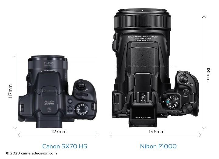 Canon SX70 HS vs Nikon P1000 Camera Size Comparison - Top View