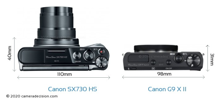 Canon SX730 HS vs Canon G9 X II Camera Size Comparison - Top View