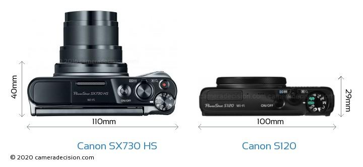 Canon SX730 HS vs Canon S120 Camera Size Comparison - Top View