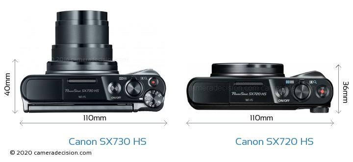 Canon SX730 HS vs Canon SX720 HS Camera Size Comparison - Top View
