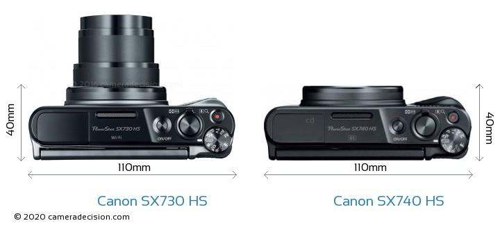 Canon SX730 HS vs Canon SX740 HS Camera Size Comparison - Top View