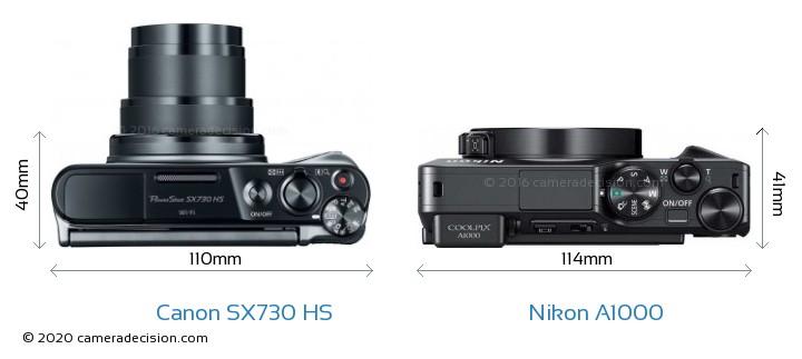 Canon SX730 HS vs Nikon A1000 Camera Size Comparison - Top View