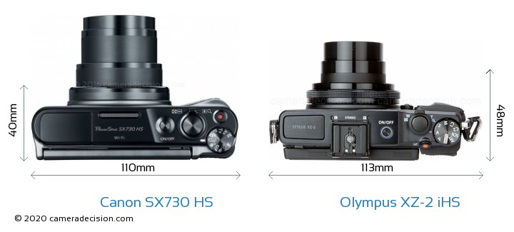 Canon SX730 HS vs Olympus XZ-2 iHS Camera Size Comparison - Top View