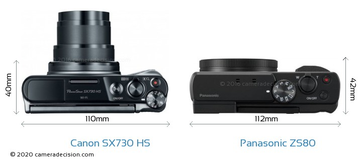 Canon SX730 HS vs Panasonic ZS80 Camera Size Comparison - Top View