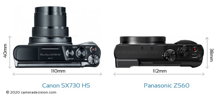 Canon SX730 HS vs Panasonic ZS60 Camera Size Comparison - Top View