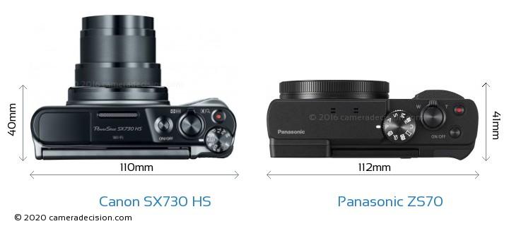 Canon SX730 HS vs Panasonic ZS70 Camera Size Comparison - Top View