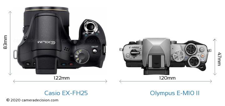Casio EX-FH25 vs Olympus E-M10 II Camera Size Comparison - Top View