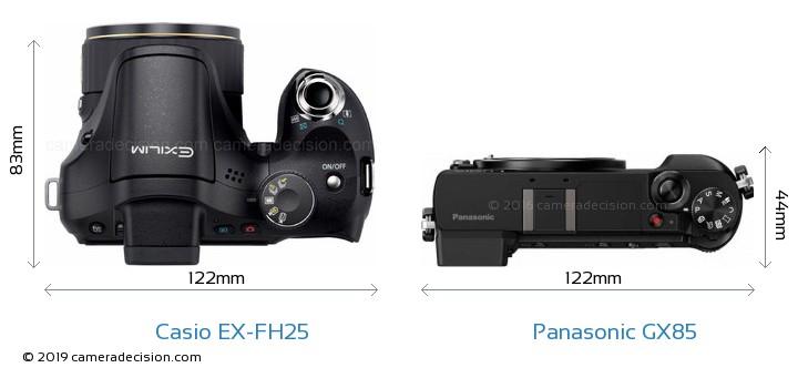 Casio EX-FH25 vs Panasonic GX85 Camera Size Comparison - Top View