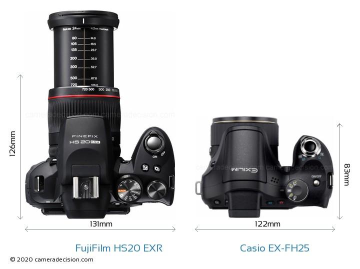 FujiFilm HS20 EXR vs Casio EX-FH25 Camera Size Comparison - Top View