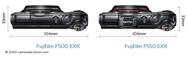 Fujifilm F500 EXR vs Fujifilm F550 EXR Camera Size Comparison - Top View