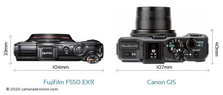 Fujifilm F550 EXR vs Canon G15 Camera Size Comparison - Top View
