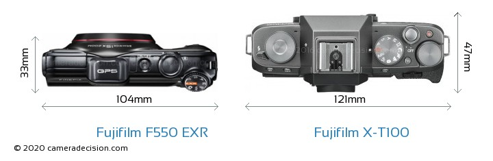 Fujifilm F550 EXR vs Fujifilm X-T100 Camera Size Comparison - Top View