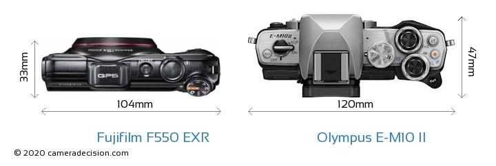Fujifilm F550 EXR vs Olympus E-M10 II Camera Size Comparison - Top View