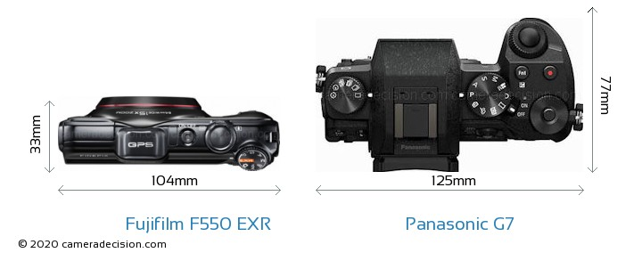 Fujifilm F550 EXR vs Panasonic G7 Camera Size Comparison - Top View