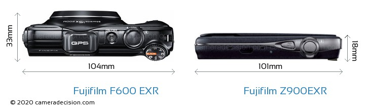 Fujifilm F600 EXR vs Fujifilm Z900EXR Camera Size Comparison - Top View