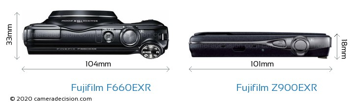 Fujifilm F660EXR vs Fujifilm Z900EXR Camera Size Comparison - Top View
