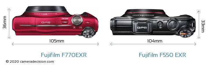 Fujifilm F770EXR vs Fujifilm F550 EXR Camera Size Comparison - Top View