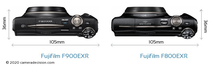 Fujifilm F900EXR vs Fujifilm F800EXR Camera Size Comparison - Top View