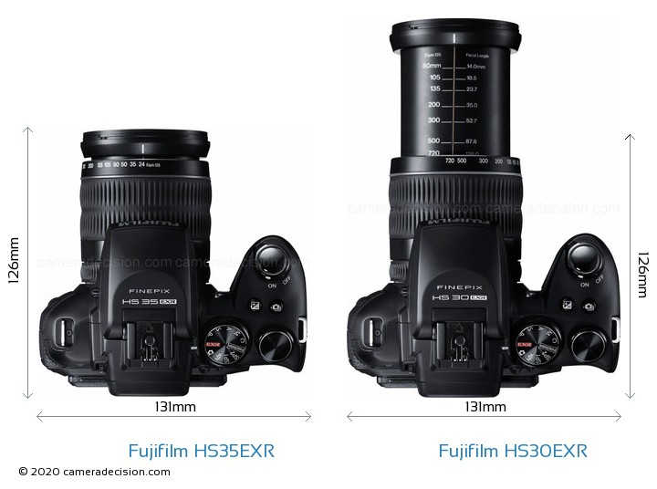 Fujifilm HS35EXR vs Fujifilm HS30EXR Camera Size Comparison - Top View