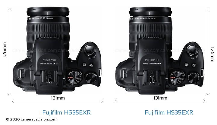 Fujifilm HS35EXR vs Fujifilm HS35EXR Camera Size Comparison - Top View