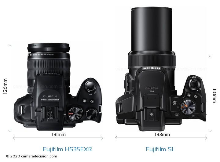 Fujifilm HS35EXR vs Fujifilm S1 Camera Size Comparison - Top View