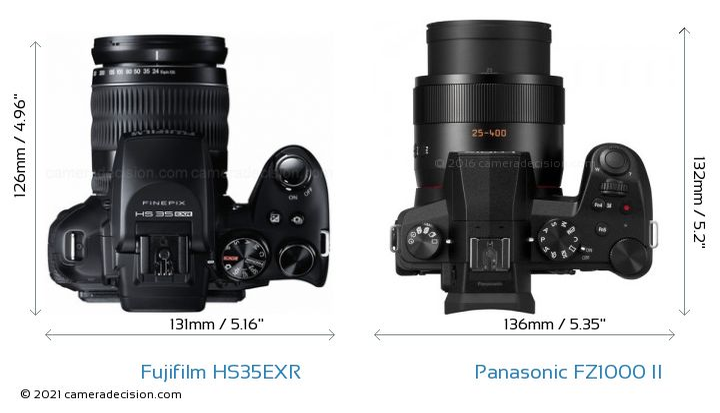 Fujifilm HS35EXR vs Panasonic FZ1000 II Camera Size Comparison - Top View