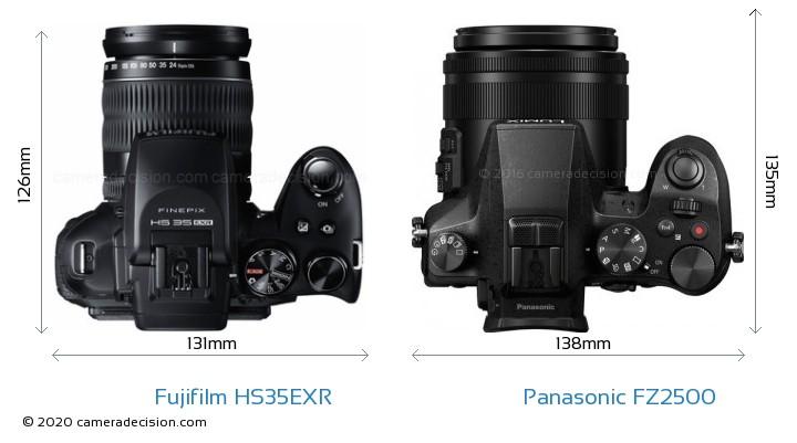 Fujifilm HS35EXR vs Panasonic FZ2500 Camera Size Comparison - Top View