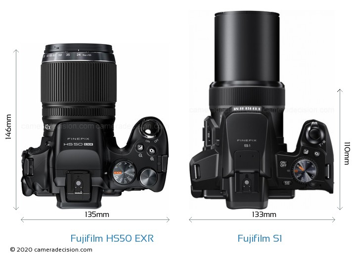 Fujifilm HS50 EXR vs Fujifilm S1 Camera Size Comparison - Top View