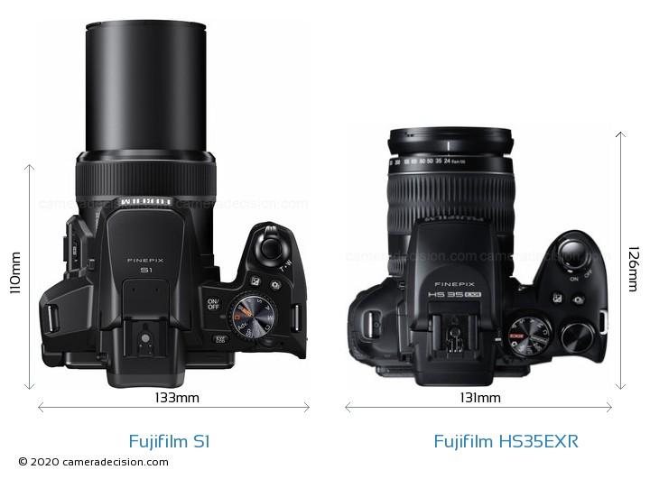 Fujifilm S1 vs Fujifilm HS35EXR Camera Size Comparison - Top View