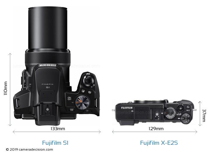 Fujifilm S1 vs Fujifilm X-E2S Camera Size Comparison - Top View
