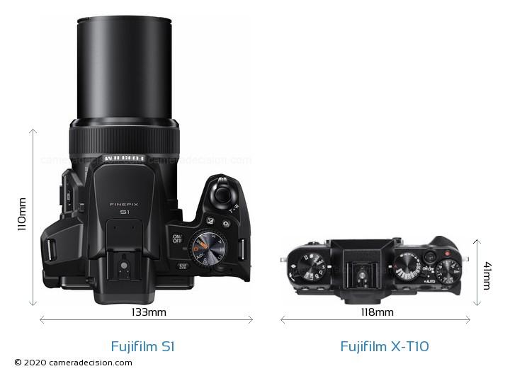 Fujifilm S1 vs Fujifilm X-T10 Camera Size Comparison - Top View