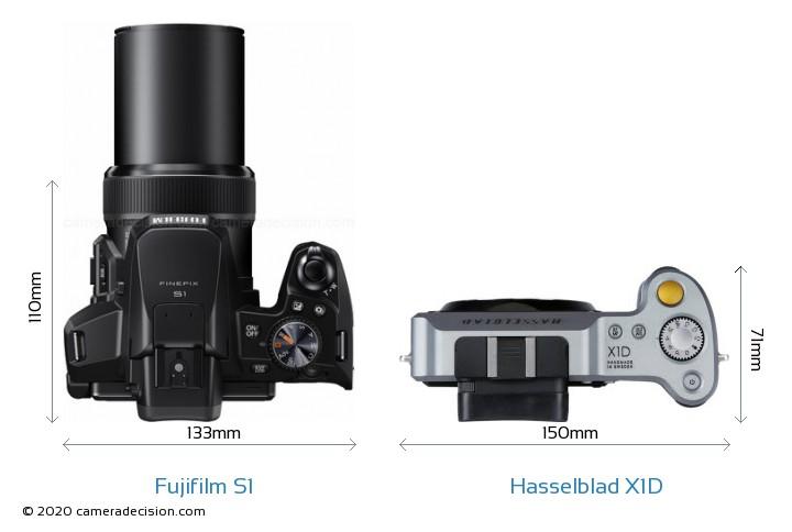 Fujifilm S1 vs Hasselblad X1D Camera Size Comparison - Top View