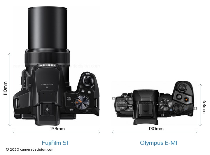 Fujifilm S1 vs Olympus E-M1 Camera Size Comparison - Top View
