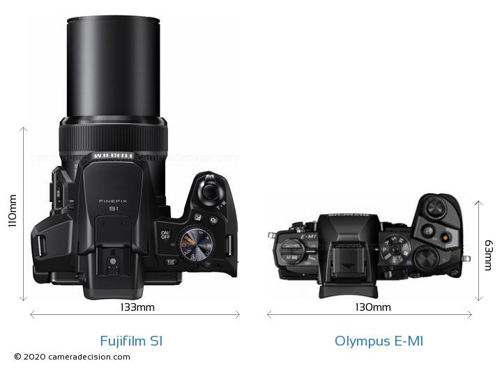 Fujifilm S1 vs Olympus E-M1 Camera Size Comparison - Top View