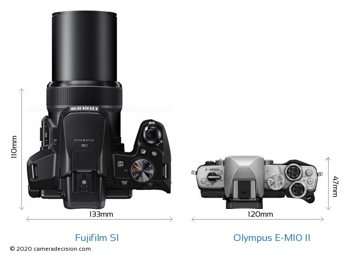 Fujifilm S1 vs Olympus E-M10 II Camera Size Comparison - Top View