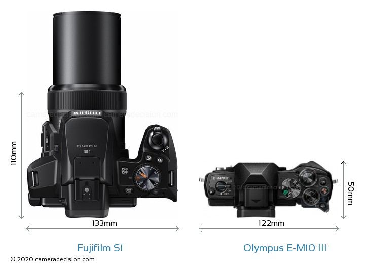 Fujifilm S1 vs Olympus E-M10 MIII Camera Size Comparison - Top View