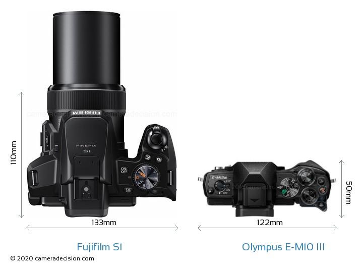 Fujifilm S1 vs Olympus E-M10 MIII Camera Size Comparison - Top View