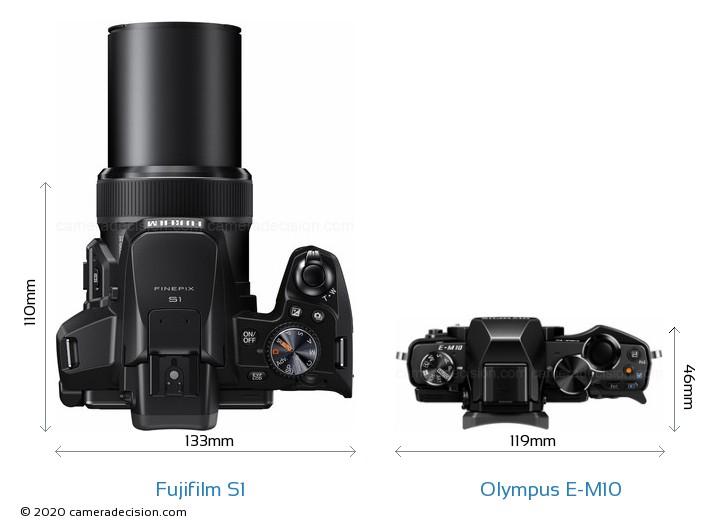 Fujifilm S1 vs Olympus E-M10 Camera Size Comparison - Top View