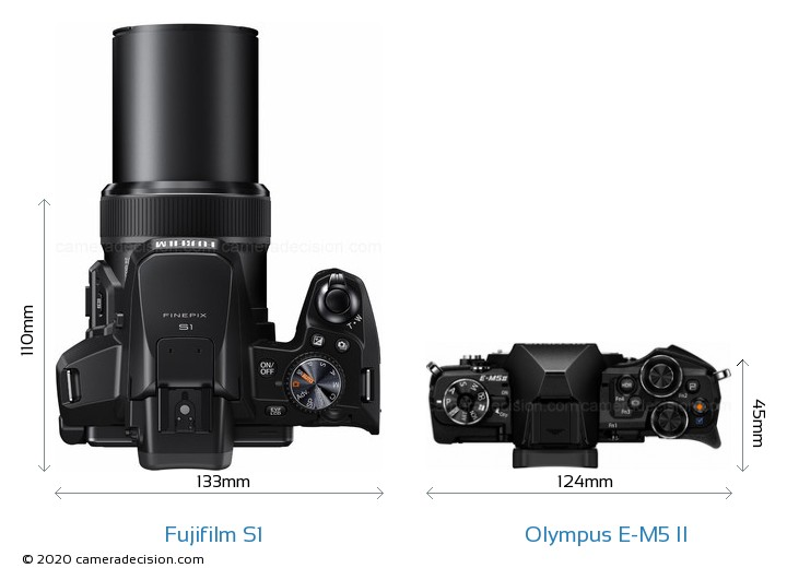 Fujifilm S1 vs Olympus E-M5 II Camera Size Comparison - Top View
