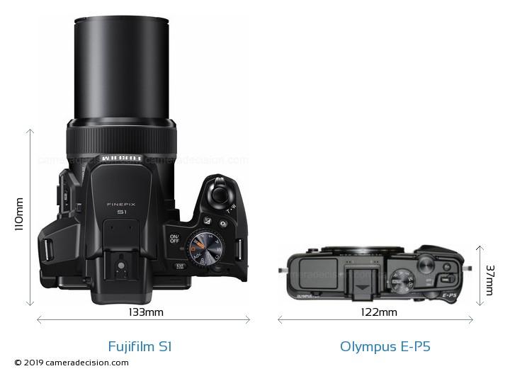 Fujifilm S1 vs Olympus E-P5 Camera Size Comparison - Top View