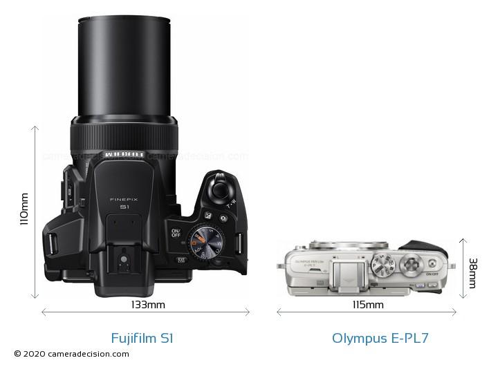 Fujifilm S1 vs Olympus E-PL7 Camera Size Comparison - Top View