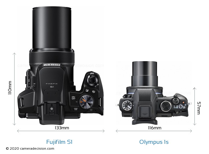 Fujifilm S1 vs Olympus 1s Camera Size Comparison - Top View