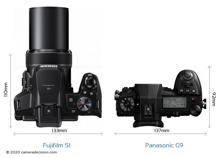 Fujifilm S1 vs Panasonic G9 Camera Size Comparison - Top View