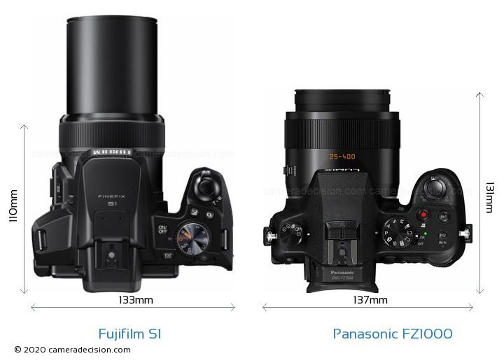 Fujifilm S1 vs Panasonic FZ1000 Camera Size Comparison - Top View