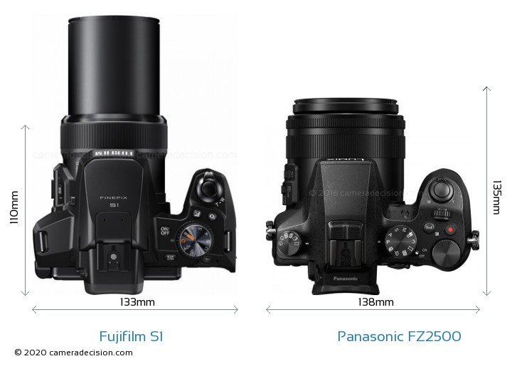 Fujifilm S1 vs Panasonic FZ2500 Camera Size Comparison - Top View
