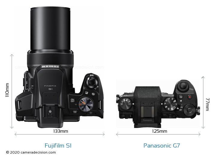 Fujifilm S1 vs Panasonic G7 Camera Size Comparison - Top View