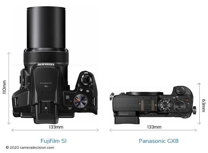 Fujifilm S1 vs Panasonic GX8 Camera Size Comparison - Top View