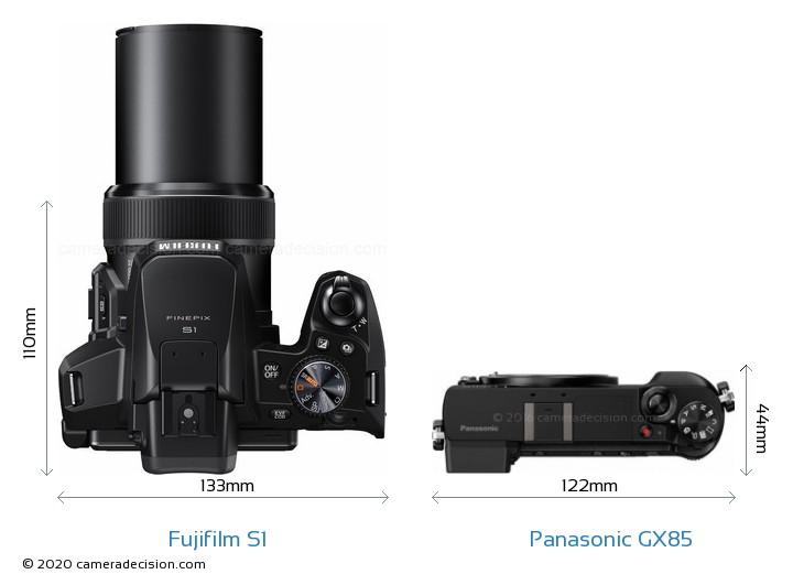 Fujifilm S1 vs Panasonic GX85 Camera Size Comparison - Top View